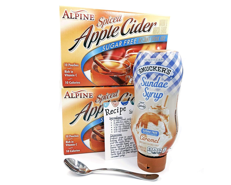 Sugar Free Caramel Sundae Syrup Bundle with Sugar Free Apple Cider Mix, Demitasse Spoon & Recipe Card - 5 Items