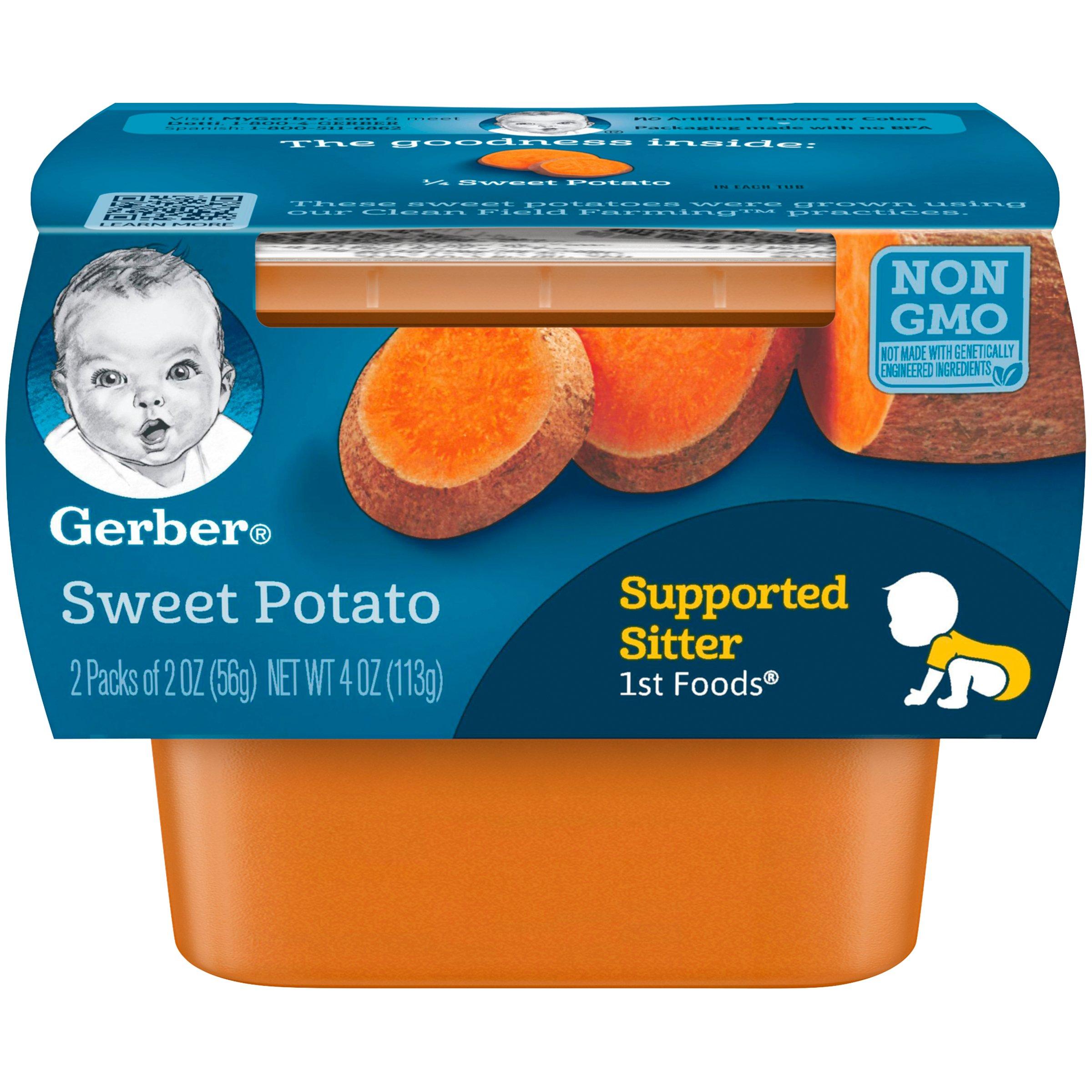 Gerber Purees 1st Foods Sweet Potato Baby Food Tubs (Pack of 8)