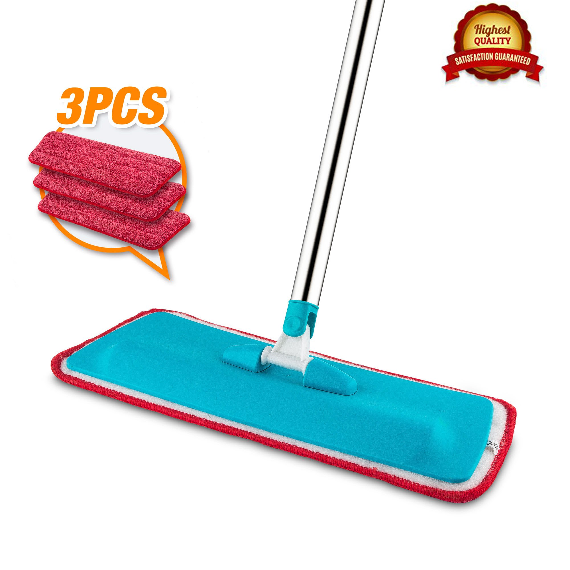 Mop, Microfiber Mop, Hardwood Floor Mop + 3 Replacement Flat Mop Pads, For Wet or Dry Floor Cleaning
