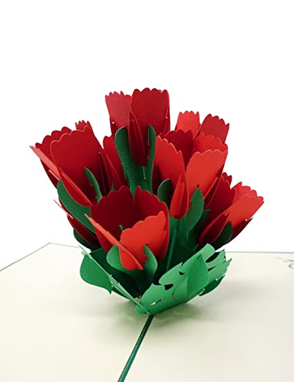 Amazon red tulip wow 3d flower pop up greeting card for all red tulip wow 3d flower pop up greeting card for all occasions love m4hsunfo