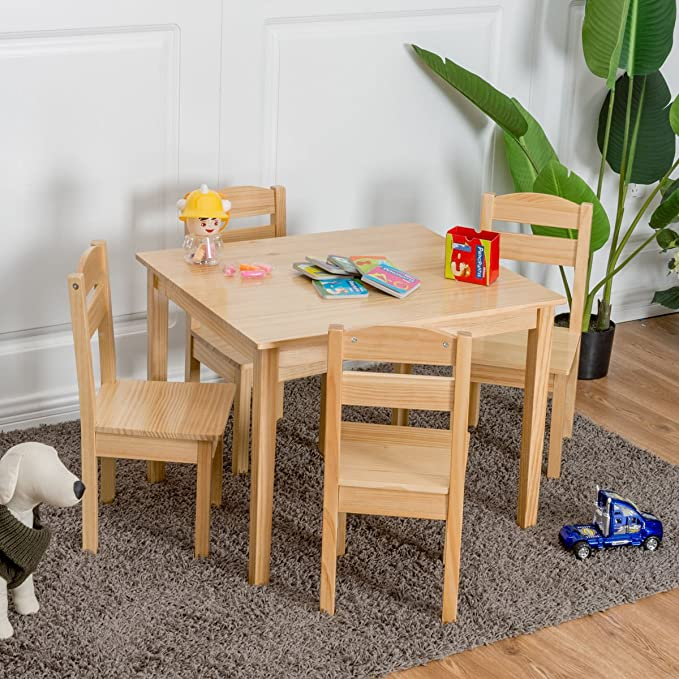Amazon.com: Kids Furniture Set Table and 4 Chairs Children ...