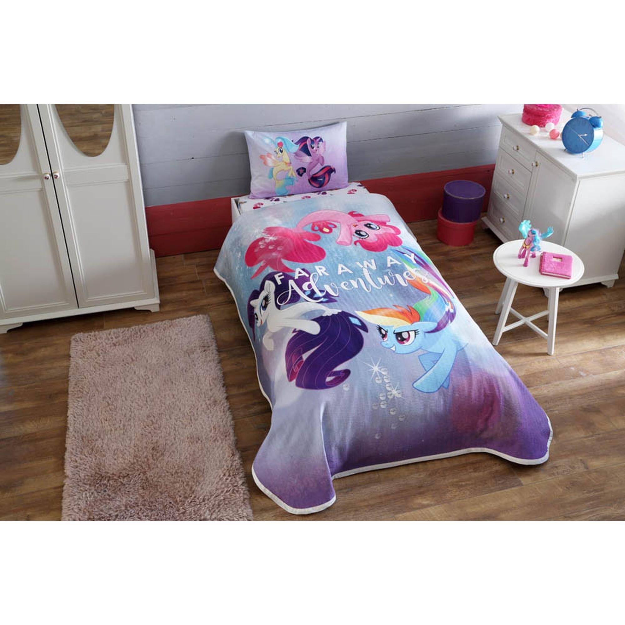 3-Piece My Little Pony Movie Licensed Cartoons Bedspread Coverlet (Pique) Set, 100% Pure Cotton Luxury, Children Teenager Single Size