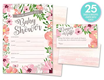Amazoncom Baby Shower Invitations and Diaper Raffle Tickets Set