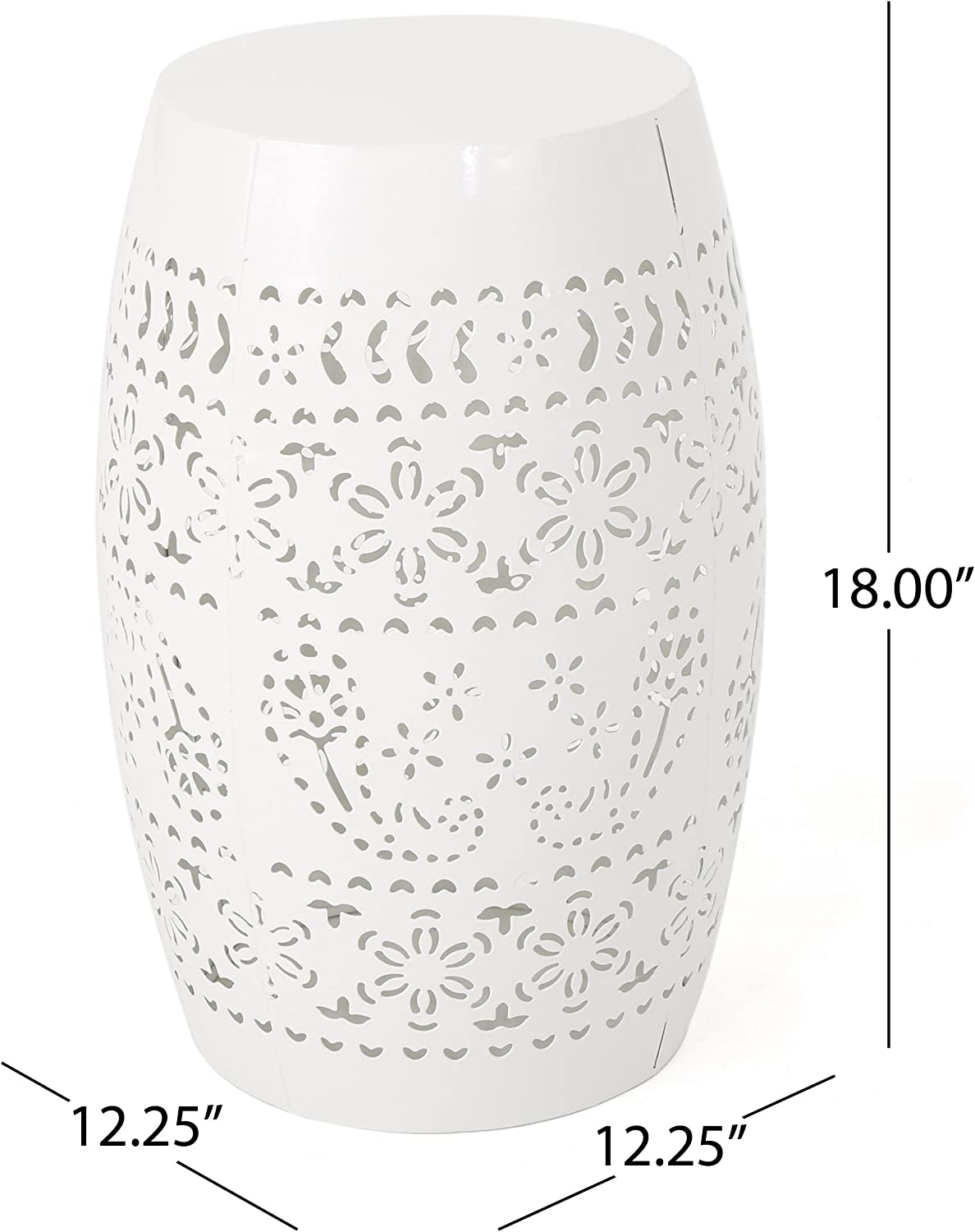 Christopher Knight Home Apollos Indoor Lace Cut Iron Accent Table, White