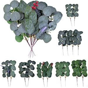 16 pcs Artificial Eucalyptus Leaves Stems with Flower Seeds,Short Silver Dollar Faux Eucalyptus Branches Greenery Plants for Floral Bouquets Wedding Indoor Floral Vase Holiday Decor
