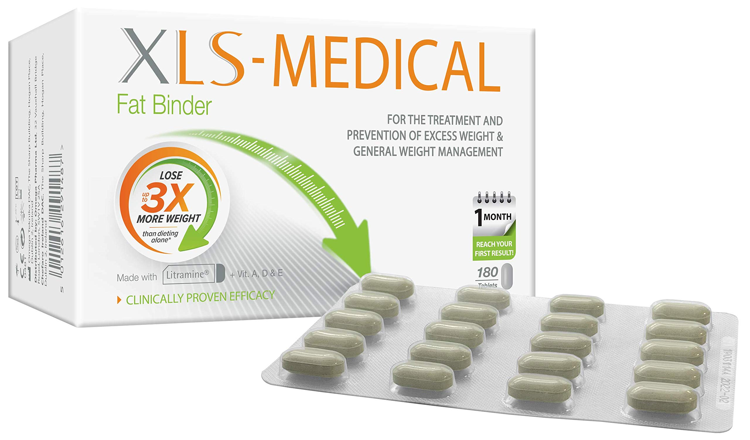 XLS Medical Fat Binder - Effective Weight Loss Aid to Reduce Calorie Intake - 180 Tablets, 30 Days