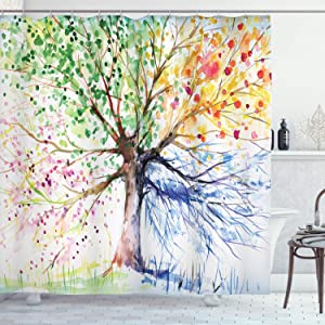 "Ambesonne Tree Shower Curtain, Watercolor Style Tree with Colorful Blooming Branches 4 Seasons Theme, Cloth Fabric Bathroom Decor Set with Hooks, 70"" Long, Berry Green"