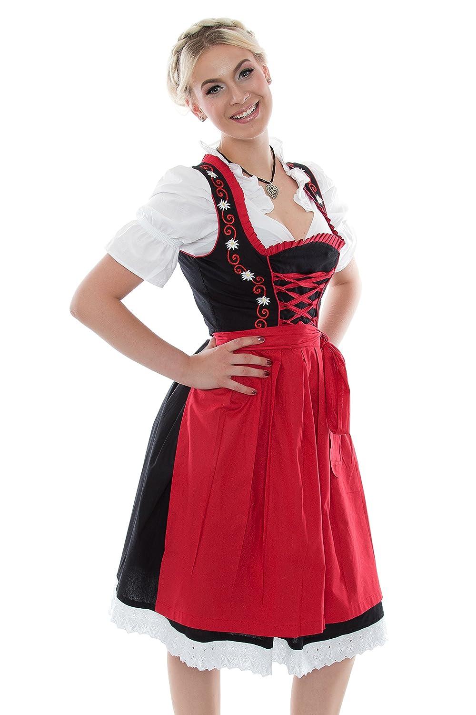 Oktoberfest 3Tlg. mit Dirndlbluse Schürze Trachtenkleid Dirndl rot schwarz Gr: 38-60 mit Stickerei und Rüschen Wiesn BAVARIAN CLOTHES Midi 3 Teilig