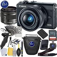 Canon EOS M100 Mirrorless Digital Camera with 15-45mm Lens (Black) + Essential Photo Bundle