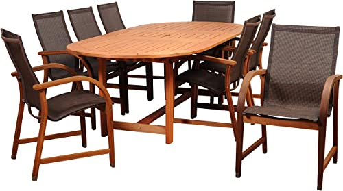 Amazonia Bahamas 9-Piece Patio Oval Dining Table Set Eucalyptus Wood Ideal for Outdoors and Indoors, Brown