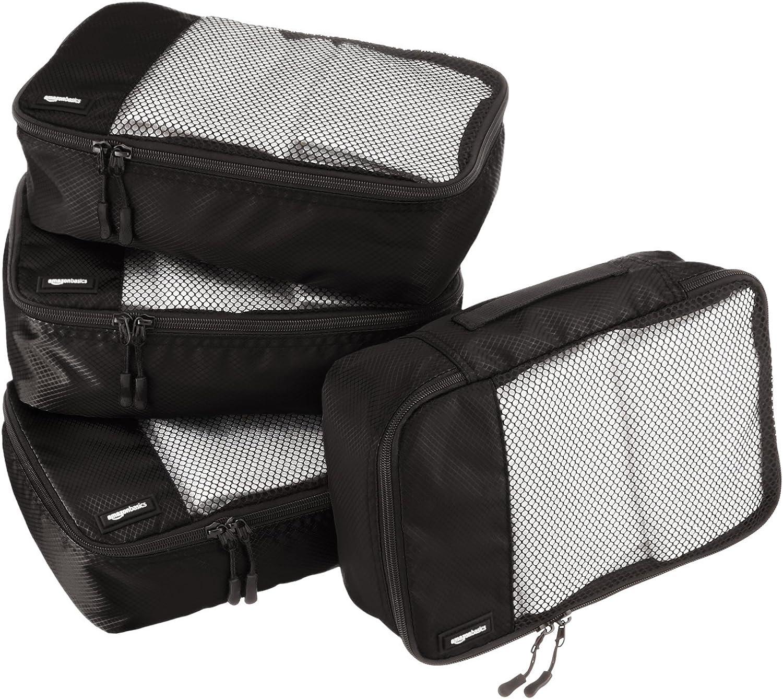 AmazonBasics - Bolsas de equipaje pequeñas (4 unidades), Negro