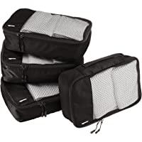 Amazon Basics Small Packing Travel Organizer Cubes Set, Black - 4-Piece Set