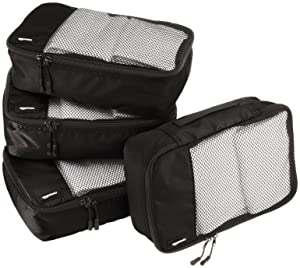 AmazonBasics Small Packing Cubes - 4 Piece Set, Black