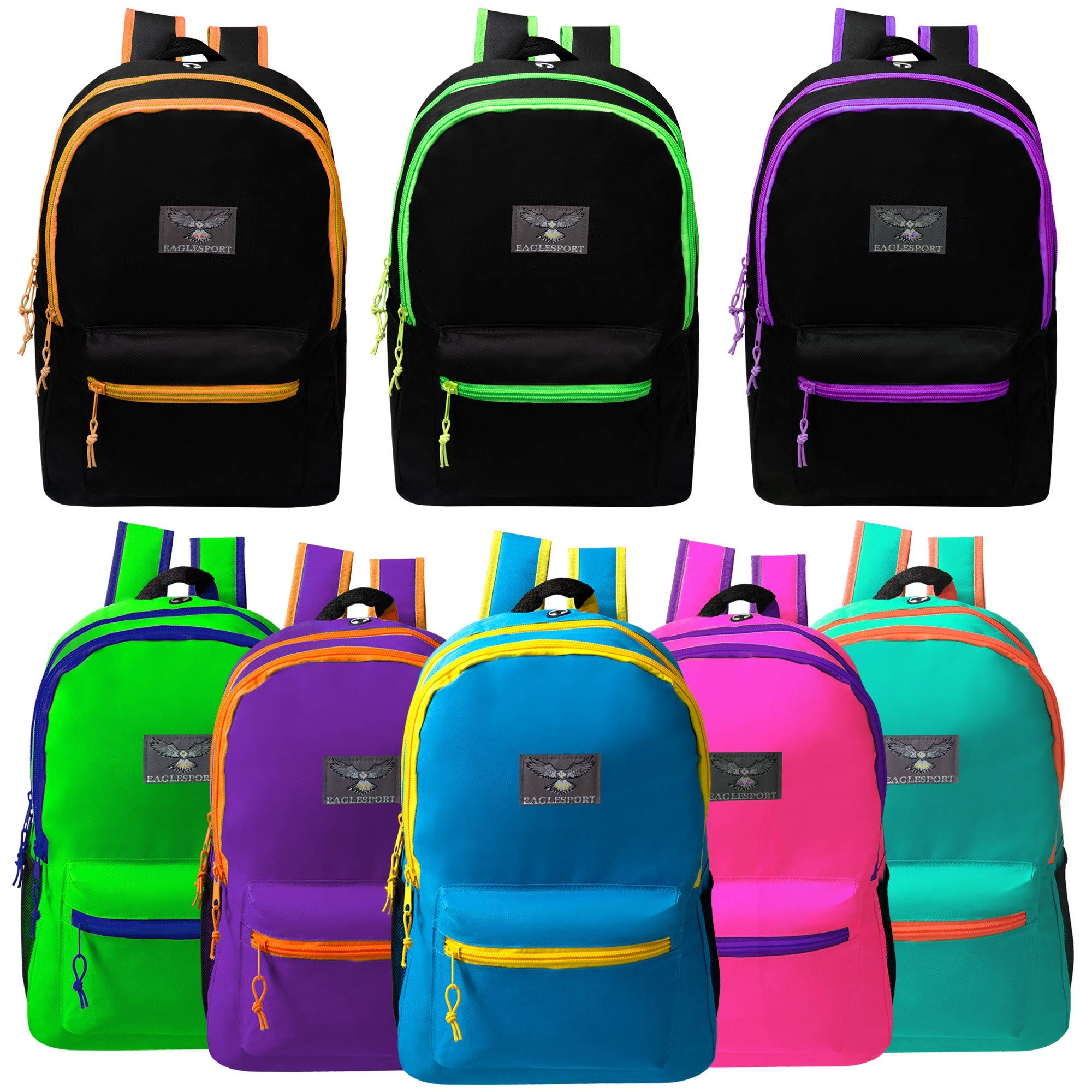 19'' Large Bulk Backpacks with Side Mesh Water Bottle Pockets in 8 Assorted Colors - Wholesale Case of 24 Bookbags by Arctic Star