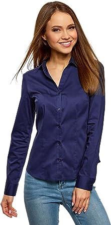 oodji Ultra Mujer Camisa Entallada con Escote en V: Amazon.es: Ropa y accesorios