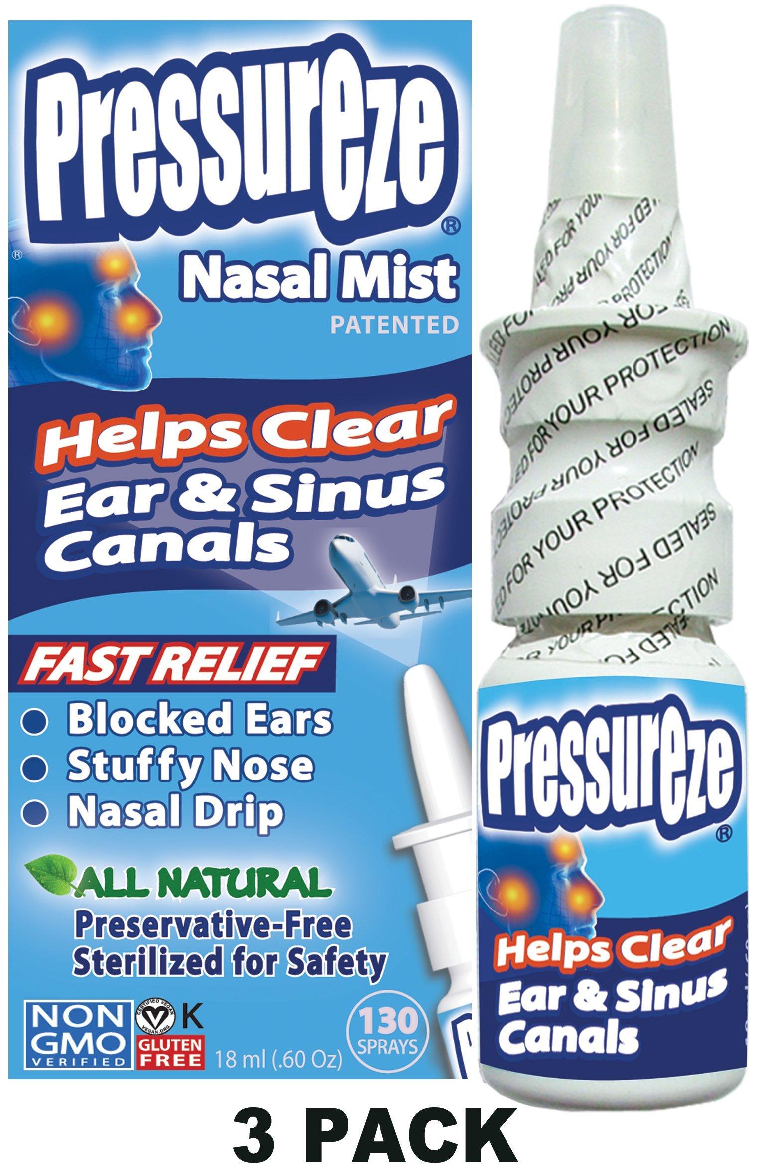 Pressureze Nasal Mist (3 PACK) .60 oz ea - All Natural, Drug Free, Preservative Free, BPA Free, Sterile, Contamination Free, NON GMO, Vegan, Gluten Free