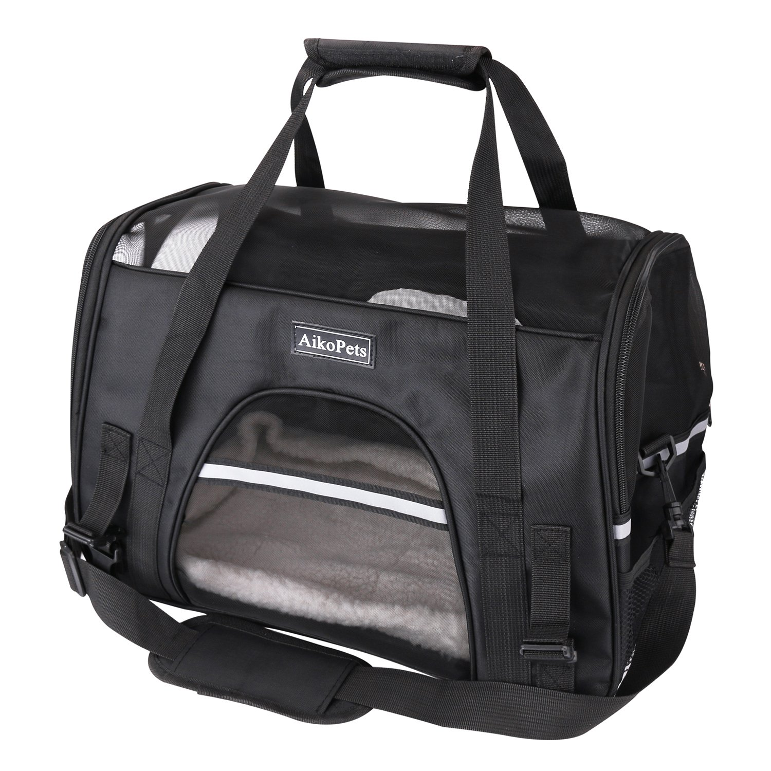 Cat Carrier, Airline Approved Pet Carrier for Medium Cat Travel Carrier Soft Sided Small Dog Carrier Fits Under Seat Small Animal Carrier Puppy Carrier with Fleece Bedding & Safety Lock, Medium Size by AikoPets (Image #1)