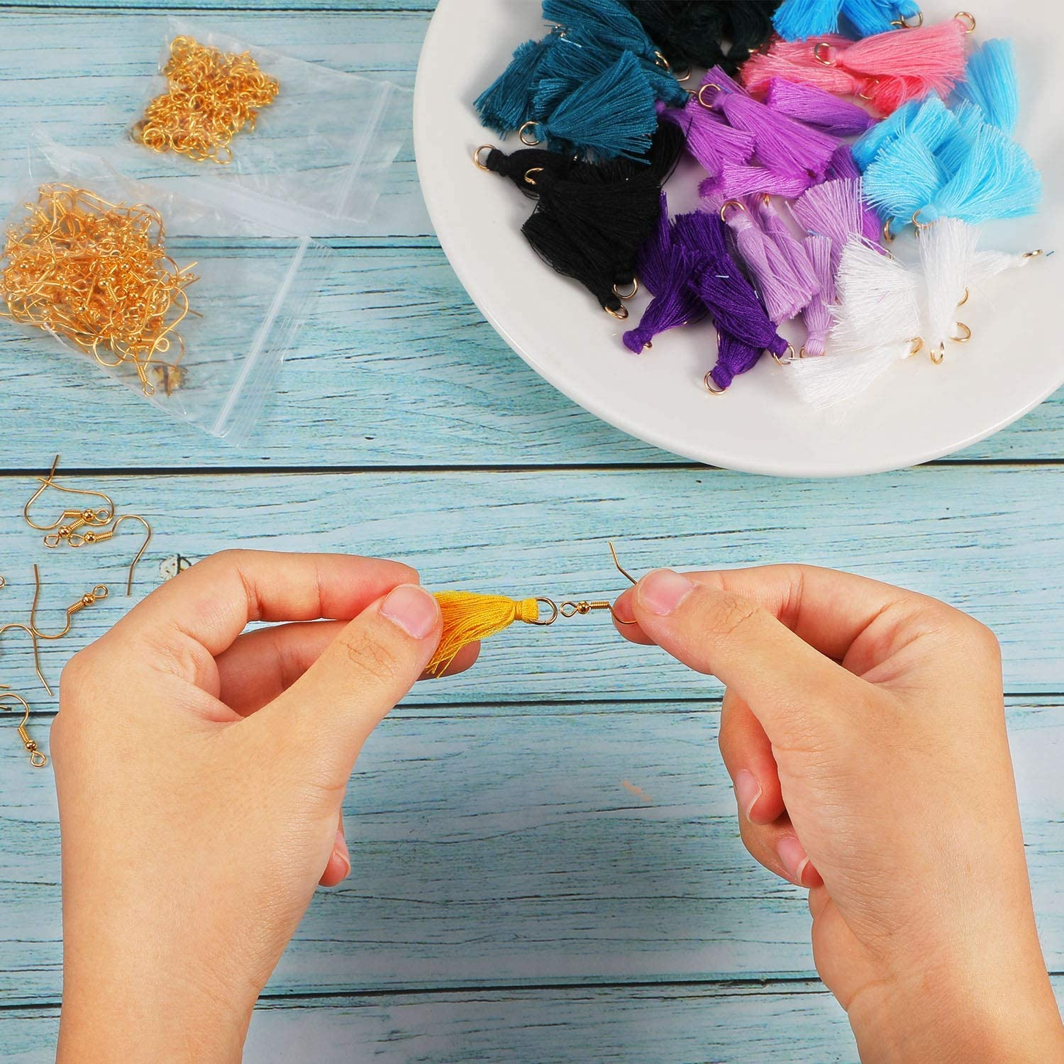 Chuangdi 420 Pieces Handmade DIY Mini Tassel Charms Multicolored Tiny Short Cotton Thread Tassels Gold Plated Earring Hooks and Jump Rings for Crafts and Earring Jewelry Making