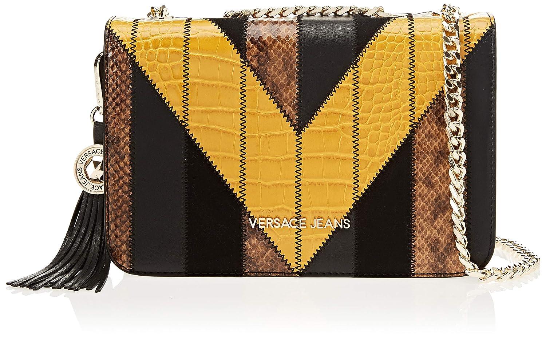 Versace Jeans - Pochette Da Giorno;donna, Carteras de mano Mujer, Multicolor (Nero+Ocra), 7x16x24 cm (W x H L): Amazon.es: Zapatos y complementos