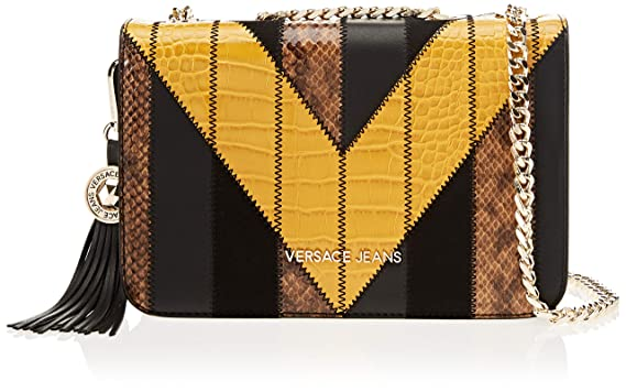 f2613495874 Amazon.com  Versace EE1VSBBP1 EML 899+602 Black Yellow Shoulder Bag for  Womens  Clothing