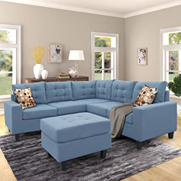 Harper Bright Designs Sectional Sofa With Ottoman Modern Soft Convertible Sofa Couch Living Room Furniture Sofa Sets Blue Furniture Decor