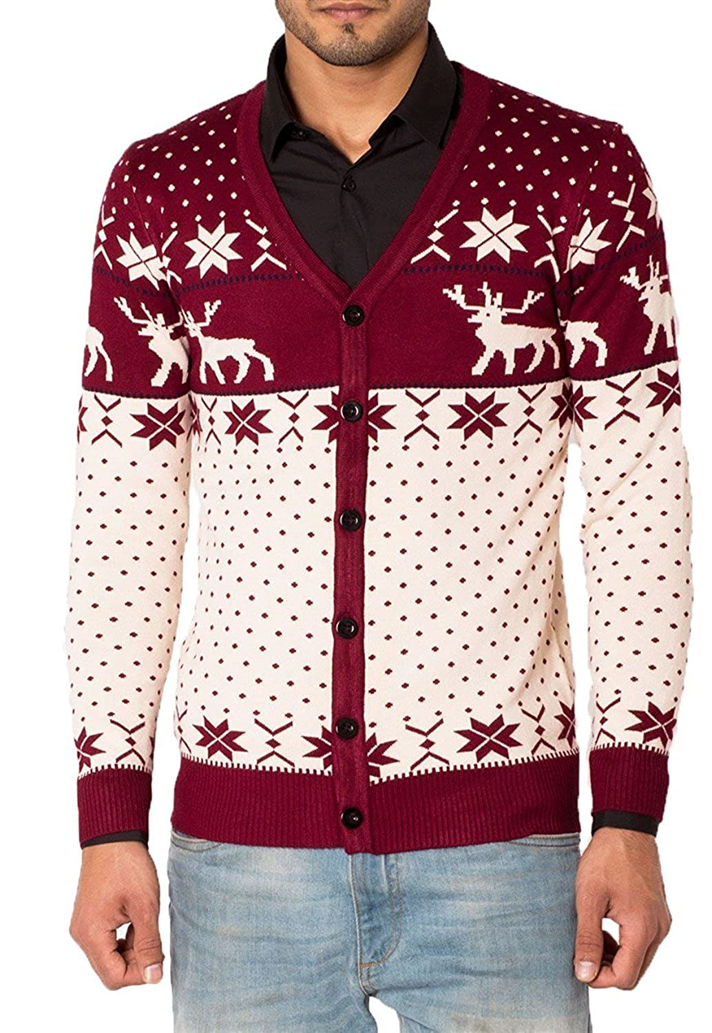 Mens Slim Fit Reindeer Knitted Christmas Button Up Cardigan