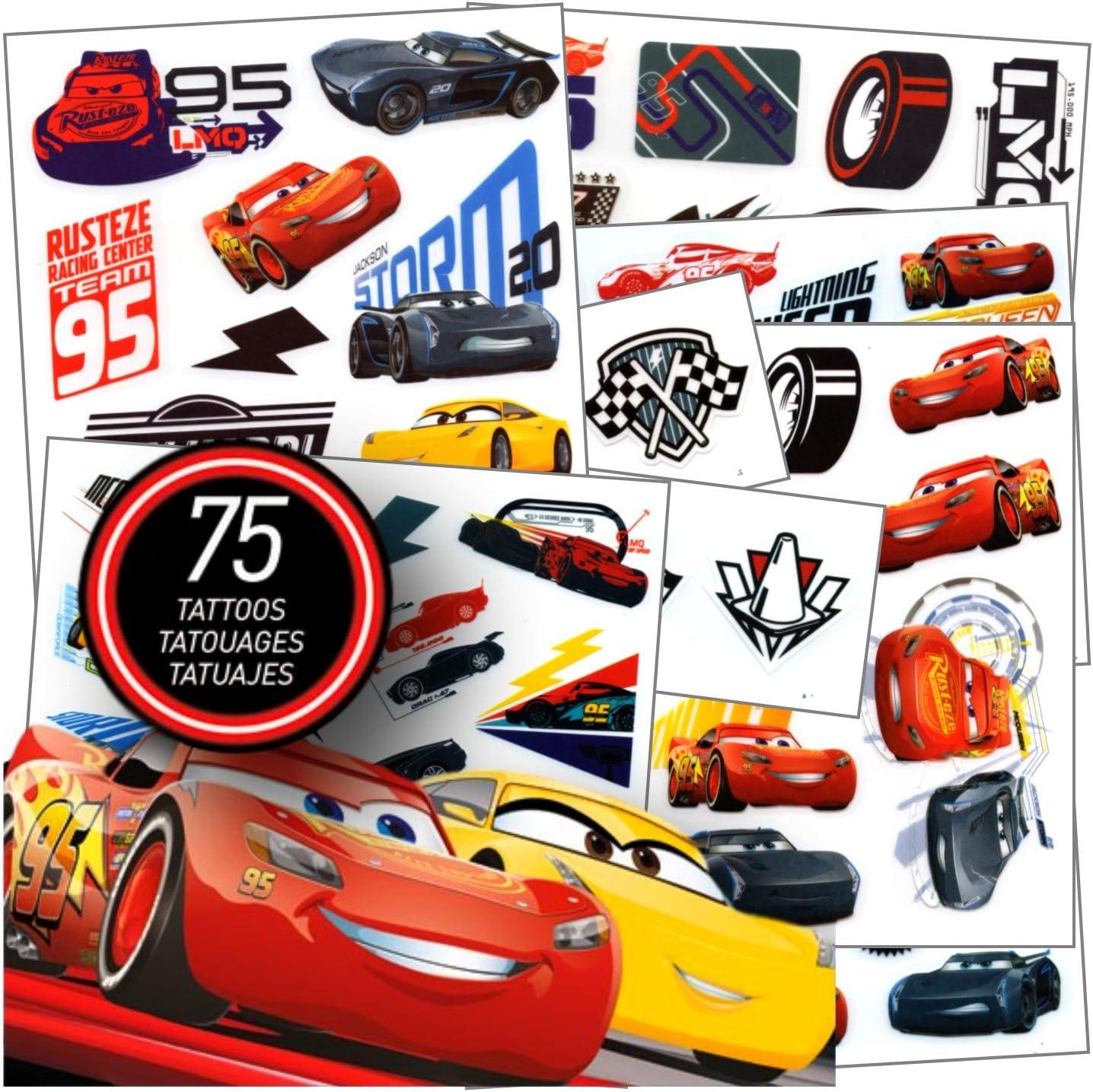Disney Studios Cars Tattoos - 75 Assorted Cars 3 Temporary Tattoos