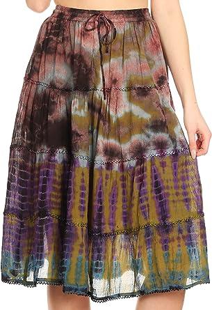 Sakkas 18452 - Antonia Falda para Mujer Tie Dye Boho Elástico en ...