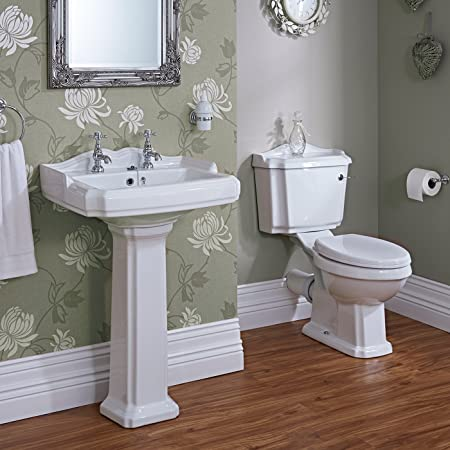 Milano Windsor Traditional Bathroom Basin Sink And Toilet WC Set Including  Cistern Fittings And Chrome Lever