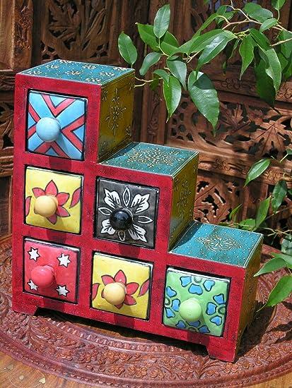Paso 6 cajones de madera pintado a mano caja de especias
