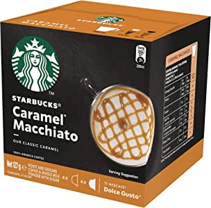 Starbucks Caramel Macchiato by NESCAFE Dolce Gusto Coffee Pods, Box of 12 Capsules, 127.8g (6 Serves)