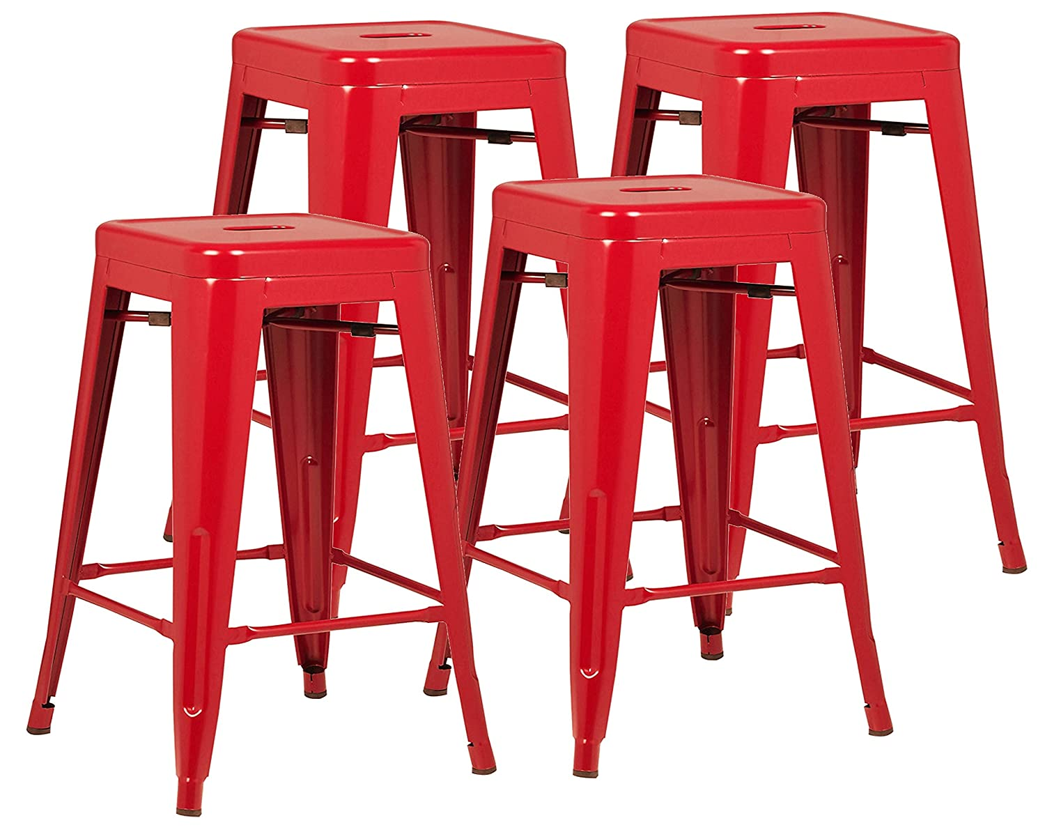 Poly and Bark Trattoria 24 Counter Height Stool in Red Set of 4