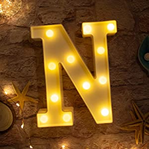 Brightown Decorative LED Marquee Letter Lights 26 Alphabet Light Up Letters Sign for Wedding Birthday Party Night Light Home Bar Decoration Battery Operated (N)