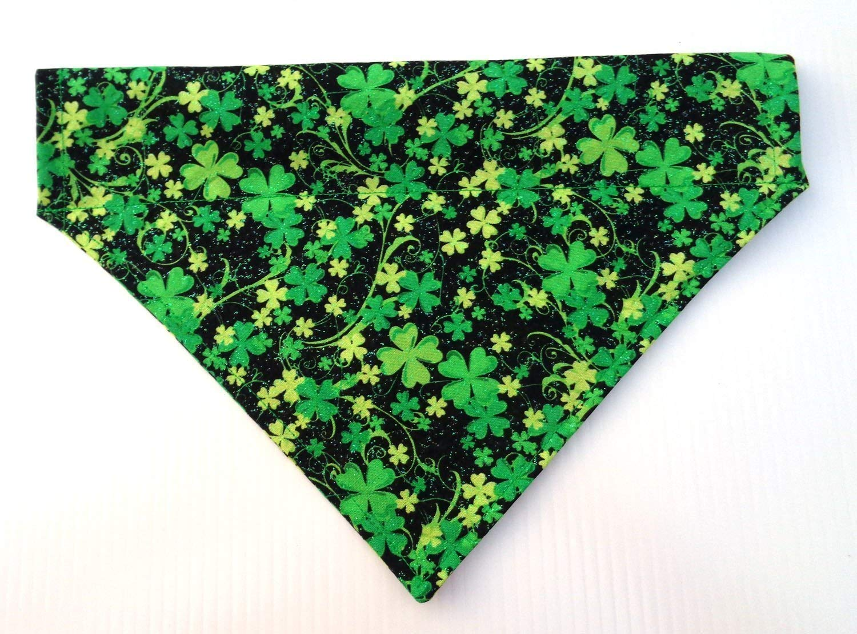 Lucky Irish Dog Bandana with Glitters, Over the Collar Thread Through Slip Thru St Patrick's Day Festive Dogwear Petwear Neckwear