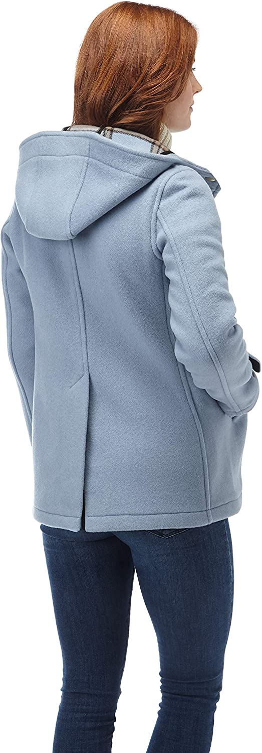 Womens Leyton Classic Short Duffle Coat Horn Toggles Baby Blue