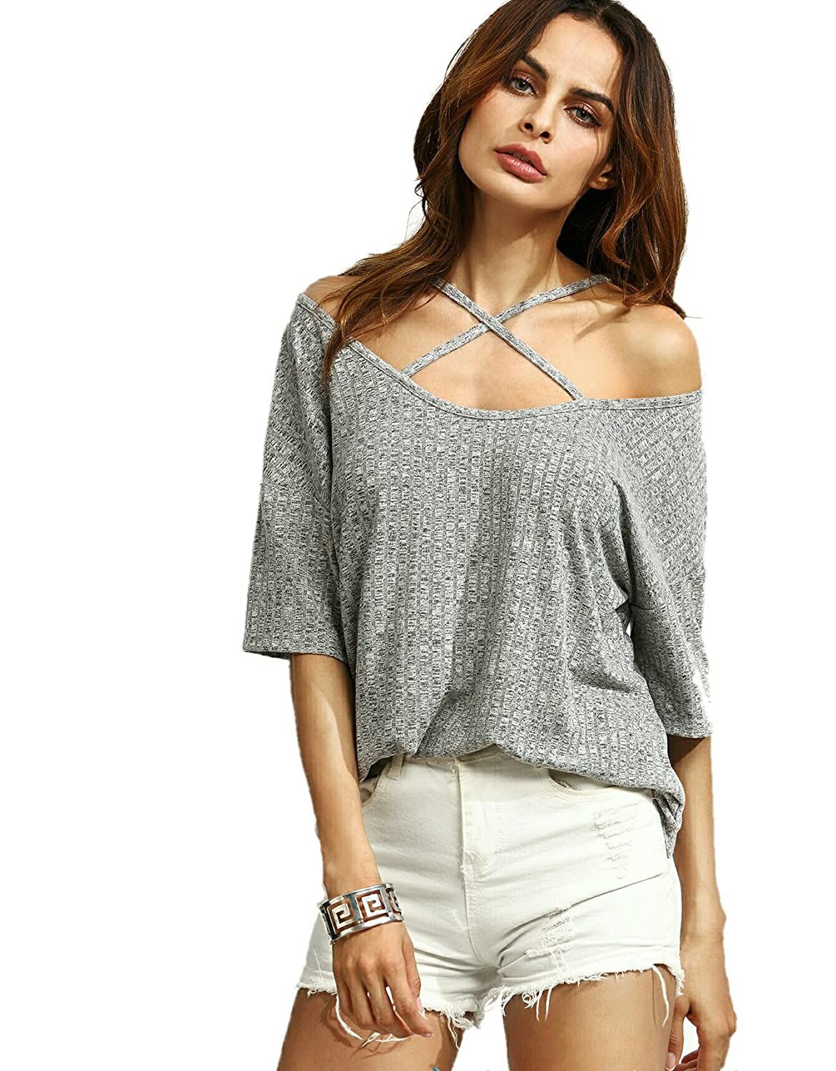 c1f2195c0f Vitans Women s Rayon Ribbed Criss Cross Front Cold Shoulder  T-Shirt(tee160912701