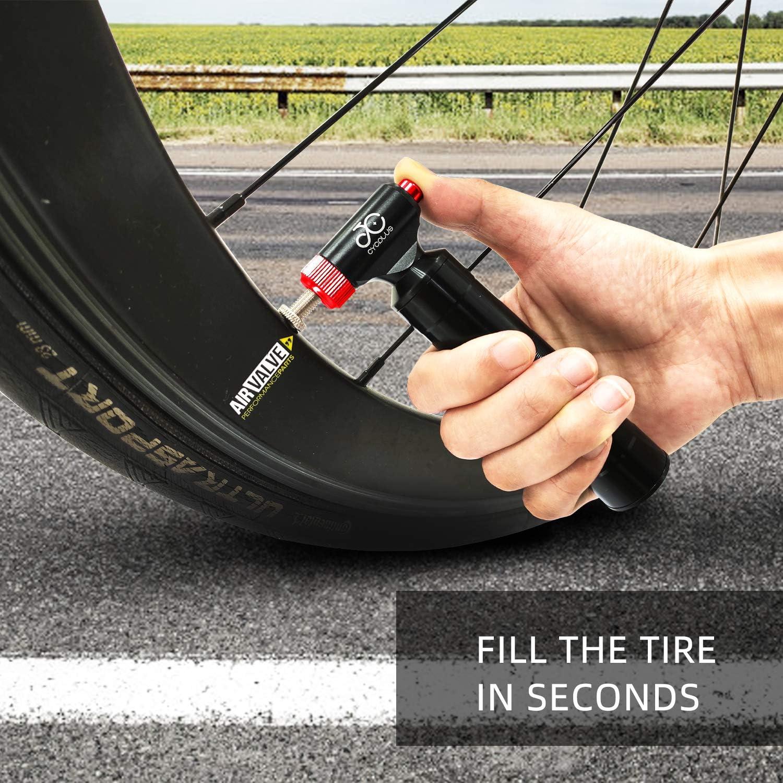 CYCPLUS CO2 Reifenpumpe Fahrrad Mini Pumpe CO2 Inflator kompatibel mit Presta und Schrader Ventil Kartuschenpumpe mit Metallgriffbeh/älter f/ür Rennrad und Mountainbikes Keine CO2-Kartuschen enthalten