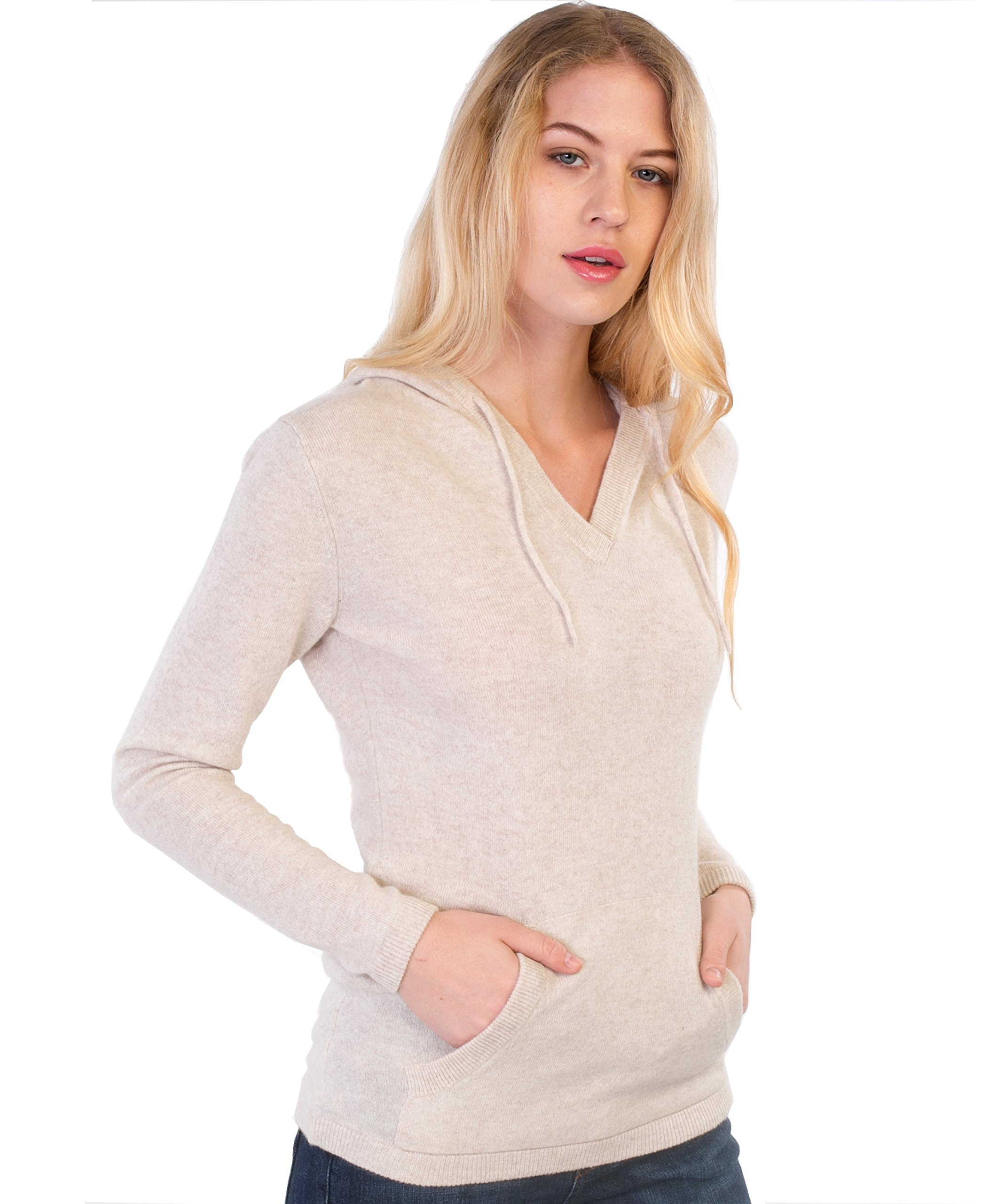 cashmere 4 U 100% Cashmere Sweater Hoodie Pullover For Women
