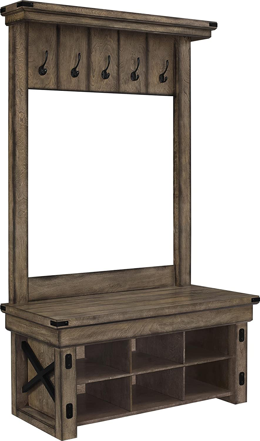 Ameriwood Home Wildwood Wood Veneer Entryway Hall Tree W Vintage Story Cushion Shabby Patchwork 60x60cm 2 Storage Bench Rustic Gray Kitchen Dining
