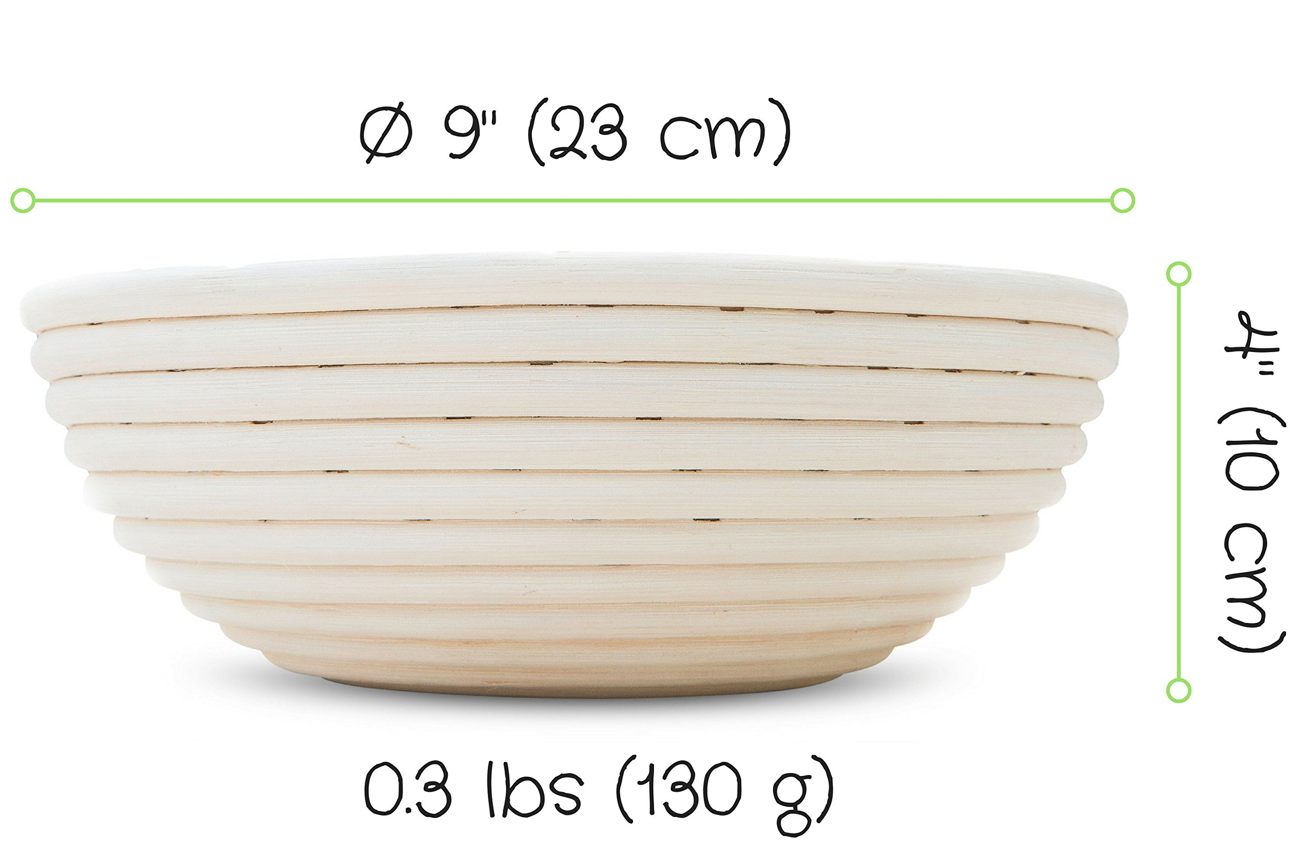 9'' Inch Round Banneton Proofing Basket for Artisan Bread And Dough. E-Book Included With Instructions, Ideas And Recipes. Eco-Friendly Rattan Cane Brotform With Rising Pattern For Artisan Baking. by Pingo Gear (Image #2)