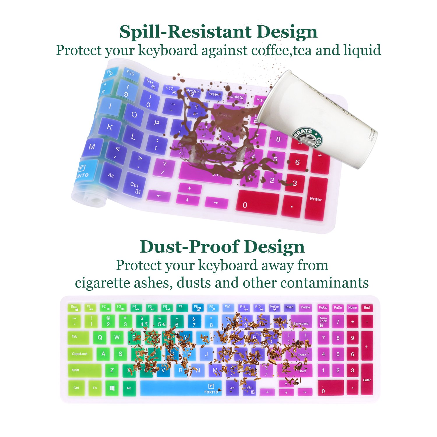 Keyboard Cover Compatible Dell Inspiron 15 3000 5000 Series//New Inspiron 17 3000 Series//Insprion 17 7786 //Dell G3 15 17 Series//New Dell G5 15 Series//Dell G7 15 17 Series Rainbow