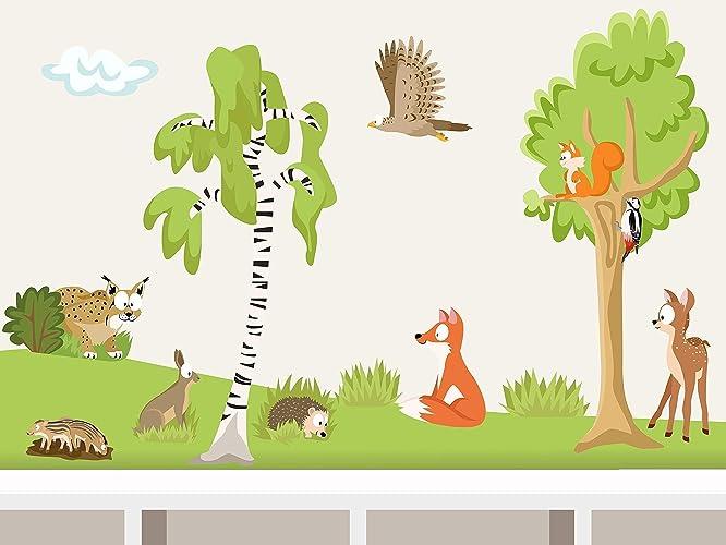 Wandtattoo Wald Xs I Set 8 Waldtiere Wandaufkleber Für Babyzimmer Kinderzimmer