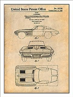 Amazon 1963 corvette stingray patent print art poster 1963 corvette stingray patent print art poster unframed parchment 18 malvernweather Images