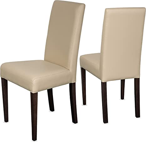 Staboos Ch22 Dining Room Chairs Up To 120 Kg Leather Padded Wooden Chairs Few Beige Set Of 2 Amazon De Kuche Haushalt