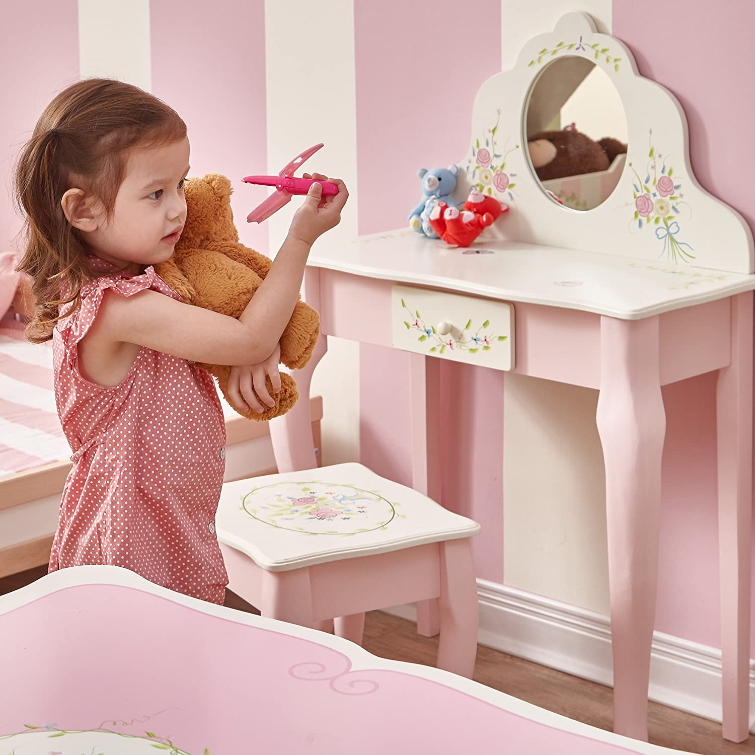 Kids Wooden Furniture Magic Garden Play Vanity Table and Stool Set with Real Mirror Fantasy Fields