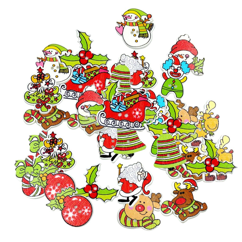 MonkeyJack 50 Pieces Mixed Jingle Bells, Xmas Tree, Reindeer, Candy, Holly, Sleigh 2 Holes Wood Buttons Painting DIY Decoration for Sewing Crafting Scrapbooking
