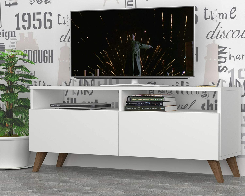 Vivense Pearl - Mueble de TV con Estante de Almacenamiento, Color Blanco, para televisores de hasta 39 Pulgadas, 120 x 35 cm: Amazon.es: Hogar