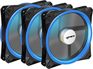 upHere 140mm case Fan 3PACK Solar Eclipse Hydraulic Bearing Quiet Cooling case Fan for Computer Mirage Color LED Fan 3 pin with Anti Vibration Rubber Pads(Blue) 14CMB3-3