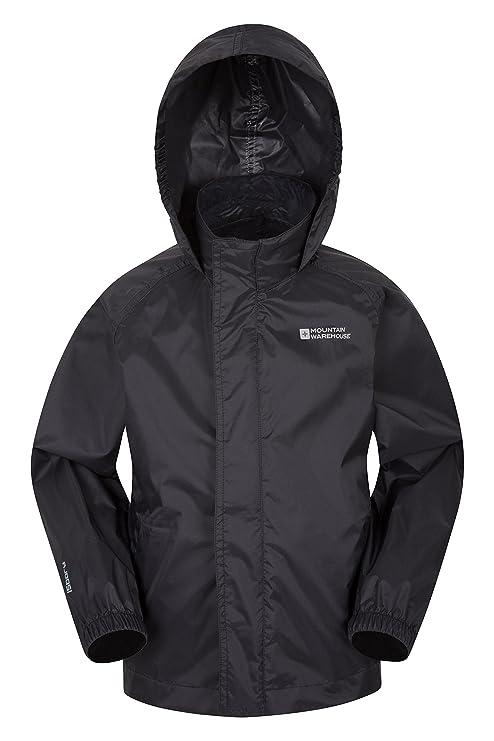 8a70c956c Mountain Warehouse Pakka Kids Rain Jacket - Waterproof, Packable Black 2-3  years