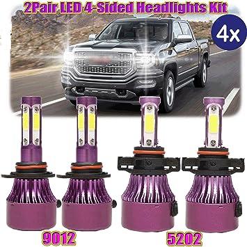 2PCS 9012 LED Headlights High Low Beam Light Bulbs for 2014-2015 GMC Sierra 1500